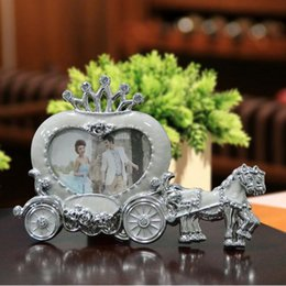 Wholesale Diamond Photo Frame Wedding - 2016 New Horse and Cart Photo Frame for Happy Wedding Day with White Princess Diamonds Heart Shaped European Style 10 pcs lot