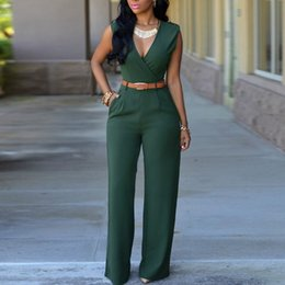 Wholesale Womens Clubwear Jumpsuits - Wholesale 2016 New Sexy Rompers Womens Jumpsuit Sleeveless V Neck Bandage Bodycon Jumpsuits Trousers Bodysuit Overalls Clubwear Plus Size