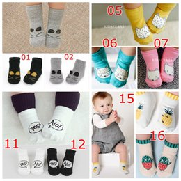 Wholesale Ankle Sock Baby Slip - INS Baby Anti Slip cotton Socks Toddler Infant Cute Cartoon Short Socks Kids Panda Fox Animal Stockings Knee Length Floor Ankle Stockings