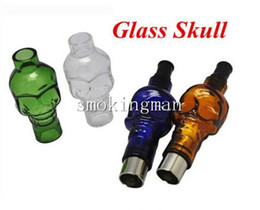 Wholesale Electronic Cigarettes Skulls - Glass Globe Bulbs Skull Clearomizer with Replacement Ceramic coil head core Atomizers Electronic Cigarette Wax Dry Vaporizer Tank