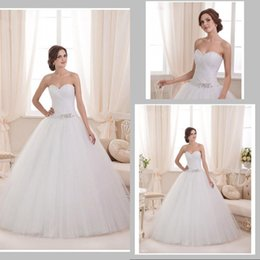 Wholesale Modest Wedding Dresses Prices - Modest Classic A Line Sweetheart Floor Length White Tulle Wedding Dress Beaded Lace Up Low Price vestido de noiva New Arrival