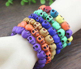 Wholesale Polymer Clay Bracelets - 2015 Hot sales skull bracelet Polymer clay Skull Strand Multicolor Bracelet Stretch Nice bracelets Fashion jewelry 100pcs lot