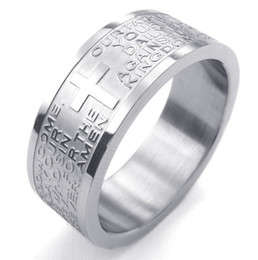 Wholesale English Cross Rings - Mens Womens Stainless Steel Ring, English Lord's Prayer Cross 8mm Band Color Silver US Size7 to 15 Drop Shipping