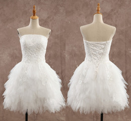 Wholesale Sexy Mini Skirt Wedding Dresses - Short Wedding Dresses Cheap Appliques Knee Length Strapless Backless Little White Dress Spring Summer StyleTulle Ruffles Wedding Gowns