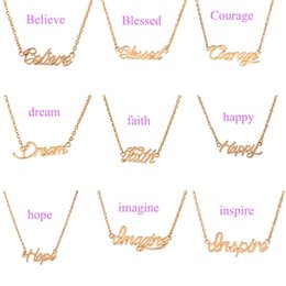 Wholesale Letter Initials Word Pendant - Big Letter Happy Hollow Pendant Necklace women Gold Silver chain word Charm statement Necklace hip hop necklaces jewelry Valentine 160341