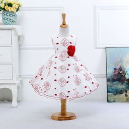 Wholesale Embroidery Stamps - 2016 New Korean Girls Stamp Sleeveless Dress Tutu Princess Dress Girl Rose Princess Gown Flower Girls Dresses for Weddings