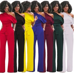 Wholesale Led Jumpsuits - Station Best Sellers Suit-dress Fund Classic Solid Color Oblique Lead Button Lin Tai Wide Leg Pants overalls woman bodycon jumpsuit short
