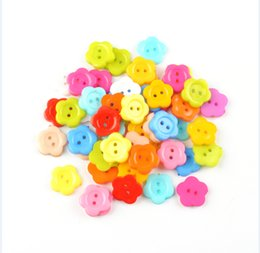 Wholesale Hole Plastic Buttons - 1000pcs 15mm 2 Holes round plastic flower Buttons Mixed Painted Design Decoration Clothing Accessories Sewing Buttons