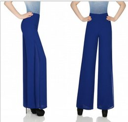 Wholesale Palazzo Flare Pants - Womens Career Wide Leg Chiffion Long Pants OL Loose Casual Bule Slim High Waist Flare Vintage Palazzo Trousers S-XL