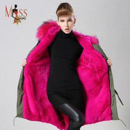 Wholesale Women Down Parka Fur Lined - 2016 women's army green Large color raccoon fur hooded coat parkas outwear long detachable lining winter jacket brand style