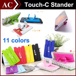 Wholesale Card Bracket - Universal Portable Finger Touch with Card Slot Holder Stander Sticker Bracket Mounts Stents Silicone For iPhone Samsung Cell phone Tablet