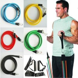 Wholesale Set Bands - Promotion! High Quality 11Pcs Set Latex ABS Tube Workout Resistance Bands Exercise Gym Yoga Fitness Sets Outdoor Sports Supplies