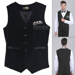 Wholesale Ballroom Dress Waltz - Man Ballroom Dance Shirt Black Dance Top Triangle Vest Mens Ballroom Clothes Latin Tango Waltz Fox-Trot Dress Ballroom Dancing DQ6033