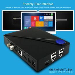 Wholesale Satellite Tv Android - Quad core android dvb Magicsee C300 android dvb-s2 t2 satellite receiver Amlogic S905D processor 2GB 16GB Smart 4K TV BOX