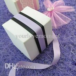 Wholesale Celebration Candy Box - 100pcs lot 5cm*5cm*5cm White Ivory Color Wedding Gift Boxes Christmas Decor Candy Boxes Baby Shower Favors Boxes Celebrations Decor