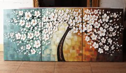 Wholesale Group Oil Paintings - Happy Tree Group Canvas Art Wall Landscape PaintingMuseum Quality Painting Handmade Abstract Group Paints