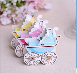 Wholesale Pram Gifts - Hot Sale 300pcs lot Stroller Candy Boxes Pram Baby Stroller Shape Cases Wedding Favor Party Gift Box DIY Decor Drop Shipping