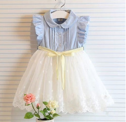 Wholesale Kids Girls Jeans - ruffle sleeves girls princess dress kids sleeveless dress lace stitching dress girls princess dress jeans tutu dress baby girl lace tutu