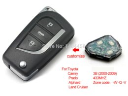 Wholesale Car Key Remote Replacement Toyota - Toyota camry key replacement, wholesale 2000-2009 auto modified remote key 433MHZ for Toyota (W-Q-V),free shipping M38518 car