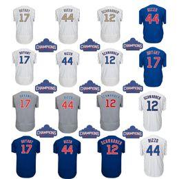Wholesale Kris Bryant - 2016 Champions gold 17 Kris Bryant jerseys 44 Anthony Rizzo 12 Kyle Schwarber Baseball Jerseys