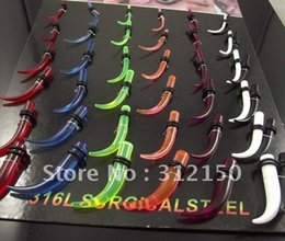 Wholesale Curved Ear Taper - Wholesale Ear Expander Ear taper Stretchers Earring Curved Ear Plugs UV Piercing Body Jewelry 50pcs Free Shipping