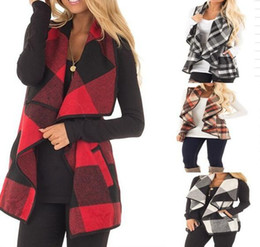 Wholesale Cotton Cloaks - Women Casual Plaid Sleeveless Cardigan Vest Coat Jacket Loose Suit Waistcoat Autumn Warm Cloak Coats 50pcs OOA3825