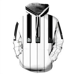 Wholesale Sleeve Ideas - Stylish Piano 3D Print Hoodies Mens Womens Striped Sweatshirt Long Sleeve Hooded Tracksuit Pullover idea Gift