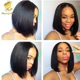 Wholesale Silk Top Bob Lace Wig - Top Quality Real Human Hair Brazilian Short Bob Silky Straight Silk Top Full Lace human hair Wigs