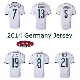 Wholesale Soccer Jersey Germany - 2014 Germany world cup home soccer Jerseys 4 stars 14 15 thai quality SCHWEINSTEIGER OZIL Gotze Reus Muller football shirts