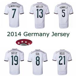 Wholesale Shirt Stars - 2014 Germany world cup home soccer Jerseys 4 stars 14 15 thai quality SCHWEINSTEIGER OZIL Gotze Reus Muller football shirts