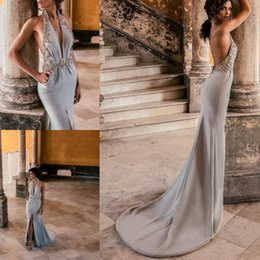 Wholesale Gowns Feathers Designs - Julie Vino Sexy Mermaid Backless Evening Dresses Front Split Halter Deep V Neck Crystal Flower Prom Gowns 2018 New Design Formal Party Dress