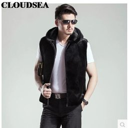 Wholesale Stylish Sleeveless Jackets - Fall-Mink Skin Fur Vest With Hoodie Mens Black Waistcoat Designer Sleeveless Jackets For Men High Quality Luxury Vests Stylish