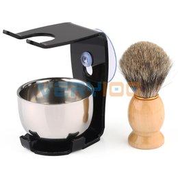 Wholesale Mug Hair - Hot Men's 3 in1 Shaving Kits Badger Hair Brush + Stand + Stainless Steel Bowl Mug order<$18no track