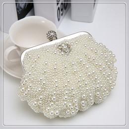 Wholesale Handmade Lady Bags - Handmade Full White Pearl Women Mini Evening Bag Fashion Ladies Clutch Girls Shoulder Messenger Bags Bridal Wedding Party Handbag