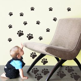 Wholesale Decal Stickers Print Paper - Black Dog Paw Prints Wall Art Mural Decor Fashion Drawer Cabinet Wall Decal Sticker Funny Kids Room Wall Paper Graphic
