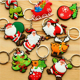 Wholesale Wholesaler Customized Christmas Ornaments - Wholesale-FREE SHIPPING Customize Minifigures Santa Claus Christmas Rubber Key Chain Key Ring Home Party Decor Christmas tree ornaments