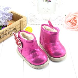 Wholesale Korean Snow Girl - Wholesale-Baby shoes 2015 winter new Korean girls shoes baby girls cotton-padded baby snow boots toddler shoes boots bright diamond wings