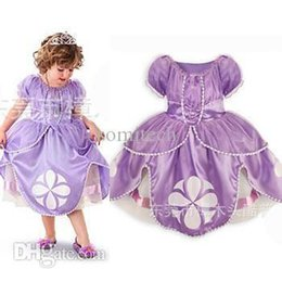 Wholesale Carnival Costumes Retail - Wholesale-retail girl sophia princess costumes height 90cm-130cm 2t-8 cosplay kids girls halloween clothes cartoon dress carnival