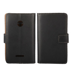 Wholesale Covered Magnetic Closure - 1PCS Drop Shipping Black Color Genuine Leather Magnetic Closure Back Cover Case for Microsoft Lumia 532 with ID Card Holder