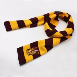 Wholesale Harry Potter Scarf Ravenclaw - Harry Potter Scarf Gryffindor Slytherin Hufflepuff Ravenclaw Houses Warm Knitted Scarves for men women 240390