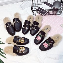 Wholesale Narrow Fabrics - 171108001 2017 new style brand leather fur genuine men winter men Slipper high-end luxury animal prints breathable black Tiger fashion shoes