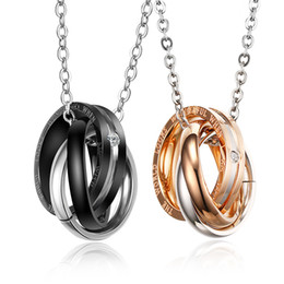 Wholesale Couple Pendants Gold - Hotsale Exquisite Romantic One Pair Couple Lovers Sweet Gift Jewerly Stainless Steel Black & Rose Gold Fashion Necklace Pendant