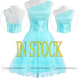 Wholesale Turquoise Cocktail Homecoming Dresses - Elegant Turquoise Homecoming Dresses Short Puffy Party Prom Gowns 2016 IN STOCK A-Line One-Shoulder Pearl Cocktail Graduation Dress Cheap