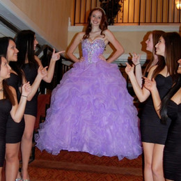 Wholesale Black Purple Quinceanera Dress - New Sexy Purple Quinceanera Dresses 2016 Ball Gowns With Organza Ruffles Beading Sweet 16 Dress For 15 Years Prom Gowns WD255