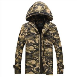 Wholesale Camouflage Jacket Men Winter - 2017 Camouflage Mens Jackets New Arrival with Hat 100% Cotton for Autumn Winter Coat Military Jacket Militar Man Clothing L-3XL