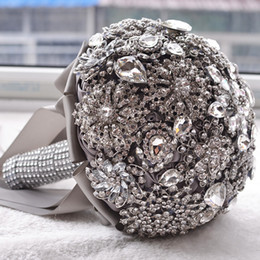 Wholesale Wedding Bouquet Bling - Gorgeous Crystal Luxury Bling Wedding Bouquet Sparkle Brooch Bouquet Wedding Accessory Artifical Flowers Bridal Bouquets
