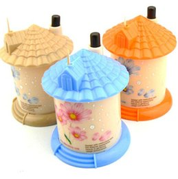 Wholesale Pocket Toothpick Holders - pocket Plastic Castle Little House Design Automatic Toothpick Holder dispenser Box color mixed CYB40