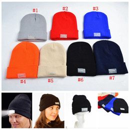 Wholesale Hunting Headlamps - 5 LED Light Headlamp Cap Knit Beanie Hat for Hunting Camping Running Fishing Flashlight Beanie 7 Colors 1000pcs OOA3468