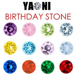 Wholesale Birthstone Colors - 120pcs lot 12 colors Mixed Crystal Round Birthday stones Charms Birthstone Charms for Magnestic Glass Locket