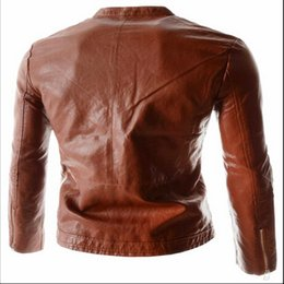 Wholesale Trench Coat Models Men - Fall-New Arrivals 2015 explosion models Round collar design locomotive men cultivating solid color leather jacket trench coat